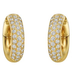 Cartier Small Diamond Yellow Gold Hoop Earrings
