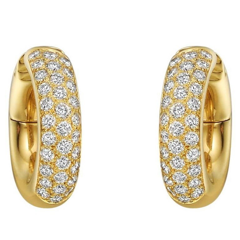 Cartier Small Diamond Yellow Gold Hoop Earrings For