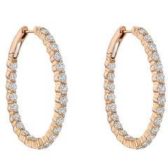 Pink Gold Diamond Oval Hoop Earrings