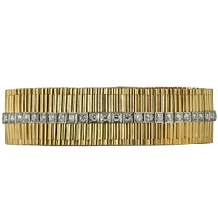 Cartier Retro Round Diamond Yellow Gold Bracelet
