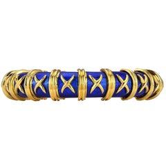 Tiffany & Co. Schlumberger Blue Enameled Yellow Gold Bangle