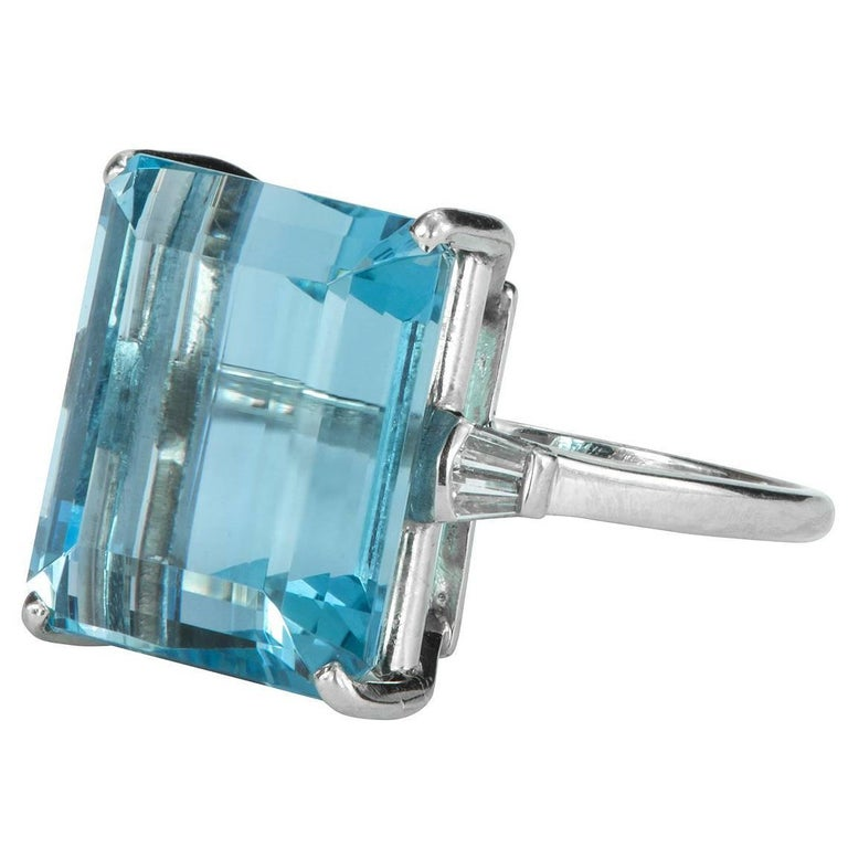 emerald cut aquamarine and platinum ring for sale
