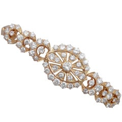 1930s 4.26 Carat Diamond and Rose Gold Bracelet