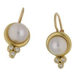 18 Karat Gold Temple St Clair Pearl Diamond Earrings