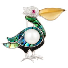 Ella Gafter White Pearl and Diamond Pelican Brooch Pin