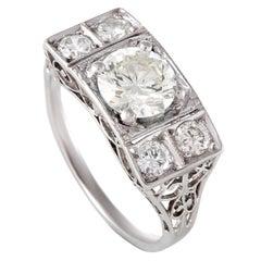 Rectangular Diamond Platinum Ring