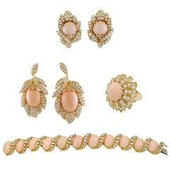 Voarakis Diamond and Angel Skin Coral Bracelet Suite