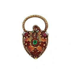 Early Antique Victorian Emerald Ruby Gold Heart Padlock Locket