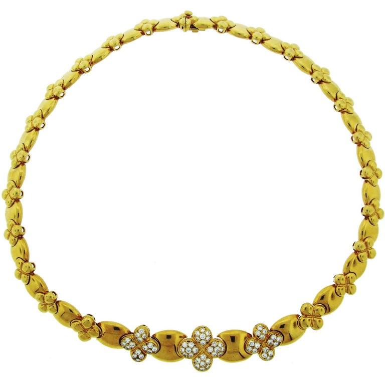 Van Cleef & Arpels Diamond Yellow Gold Clover Necklace