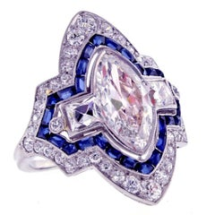 Art Deco Marquise Diamond and Sapphire Ring