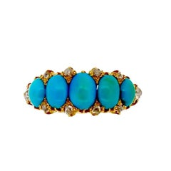 Late Victorian Antique Turquoise and Diamond Gold Half Hoop Ring