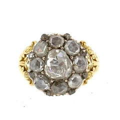 Rare Antique Georgian Rosecut Diamond Gold Ring