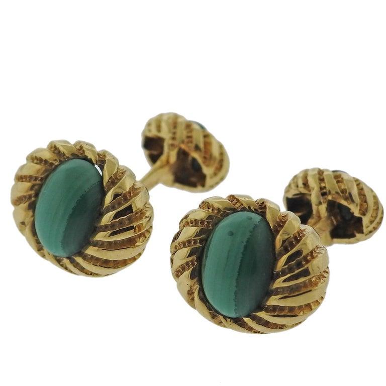 Tiffany & Co. Schlumberger Malachite Gold Cufflinks