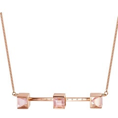 9 Karat Rose Gold and Rose Quartz and White Diamonds Quadrant Necklace by Kattri