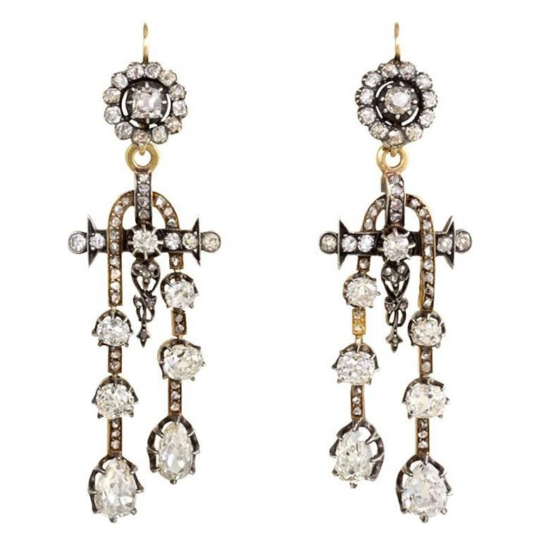 Antique Diamond Earrings with Négligée-Style Pendants