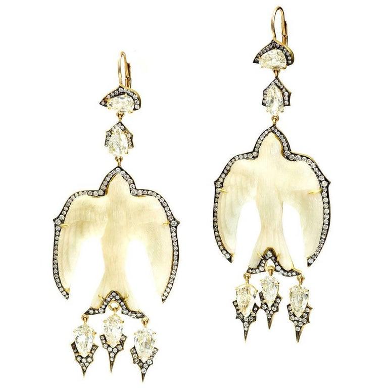 Sylva & Cie. Handmade Tagua Swallow Bird Earrings with Diamonds For Sale