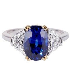 Gold 'Veronique' 4.13 Carat Sapphire and Diamond Engagement Ring