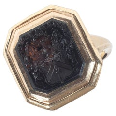 1830s Georgian Smokey Quartz Crest Intaglio Ring