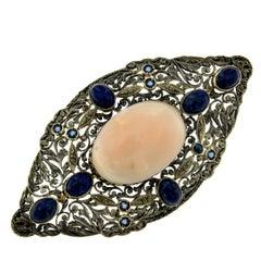 Victorian Coral Lapis Lazuli Gold Silver Brooch