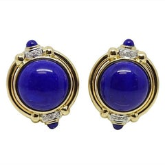 Blue Lapis and Diamond Yellow Gold Earrings
