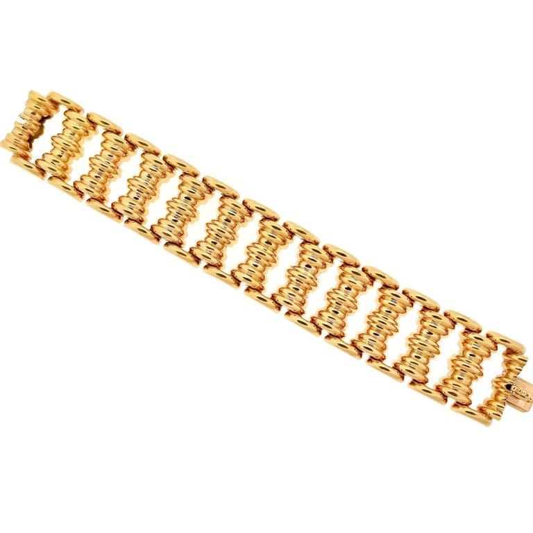 Modernist Art Deco Wide Yellow Gold Tank Bracelet