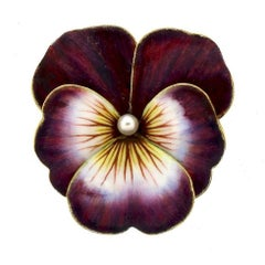 Antique Art Nouveau Purple Enamel Pansy Pendant Brooch