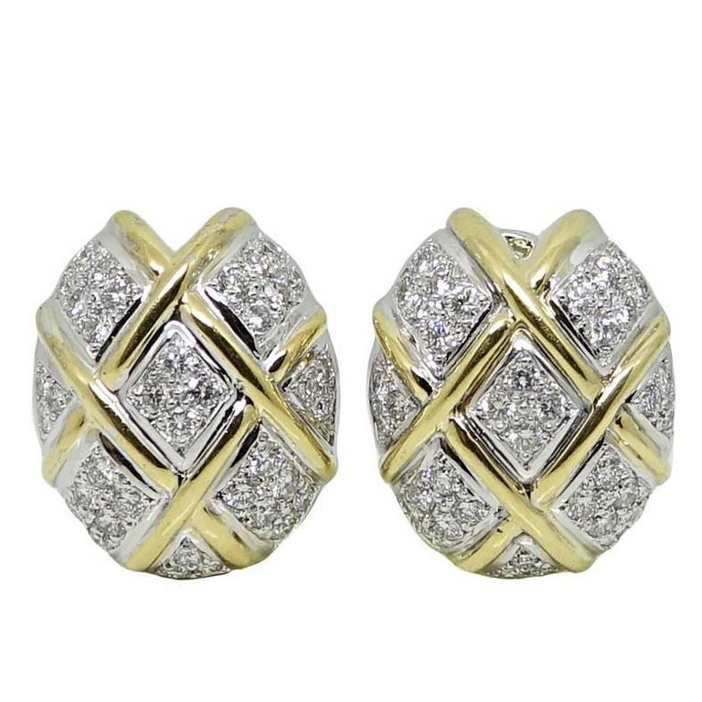 1.75 Carat Yellow and White Gold Earrings
