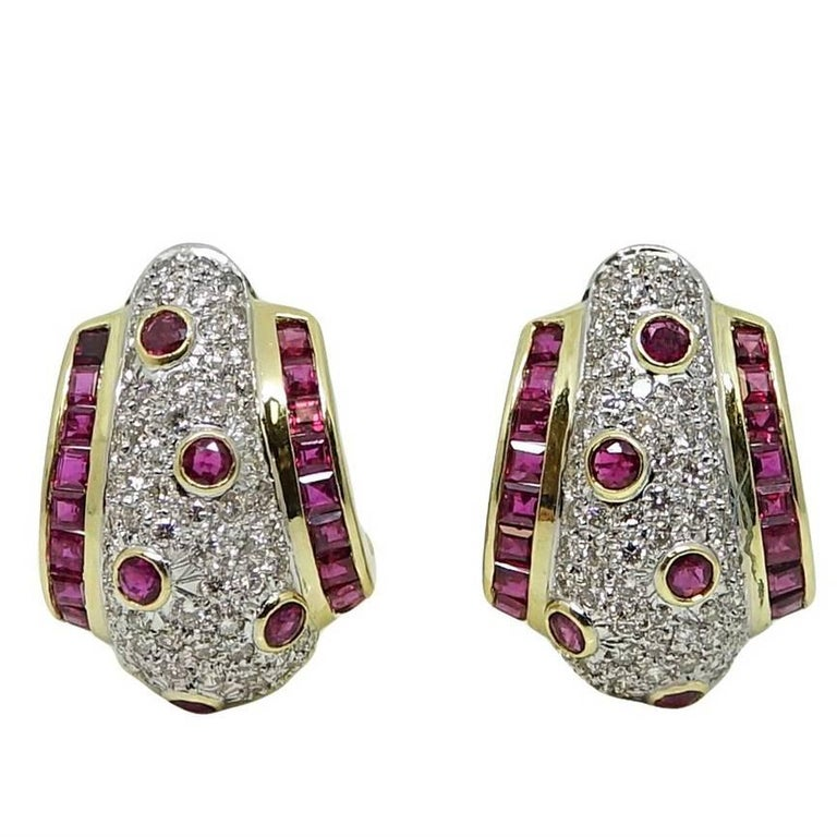 3.24 Carat Diamond and 3.80 Carat Ruby Yellow and White Gold Earrings
