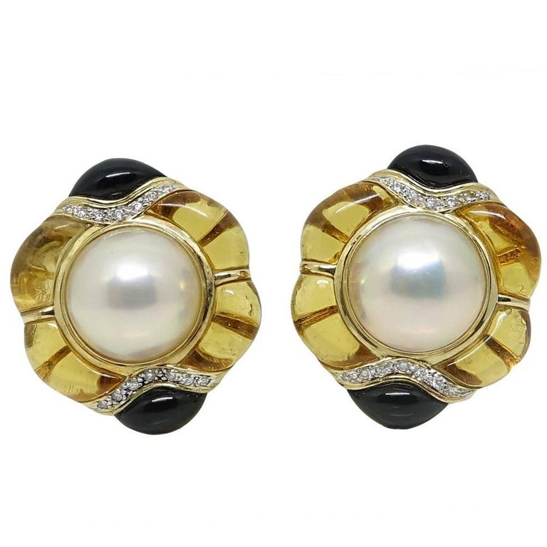 Mabe Pearls, Topaz, Onyx and Diamonds Yellow Gold Earrings For Sale