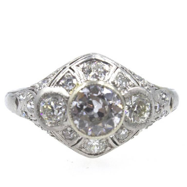 Art Deco Diamond Platinum Engagement Ring 1