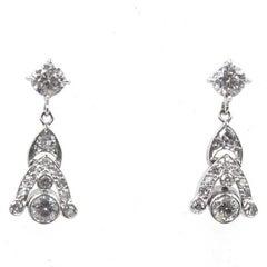 Diamond Platinum Drop Estate Earrings