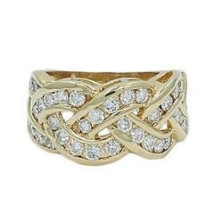 1.50 Carat Diamond Braided Style Yellow Gold Ring