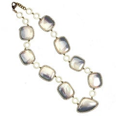 Sylva & Cie. One of a Kind Gold Opal and Diamond Necklace