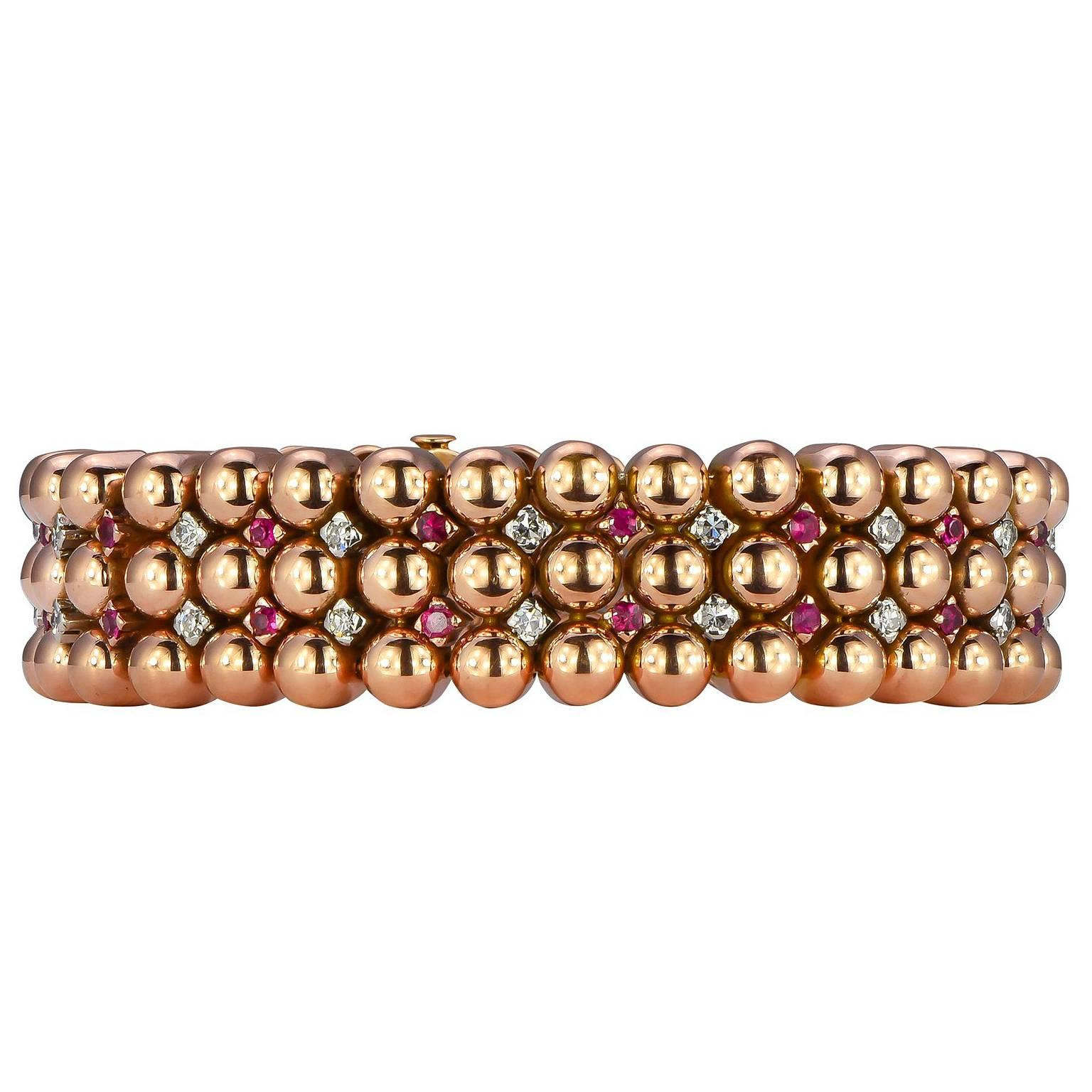Retro Ruby and Diamond Rose Gold Bracelet