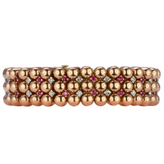 Retro Ruby and Diamond Rose Gold Bracelet