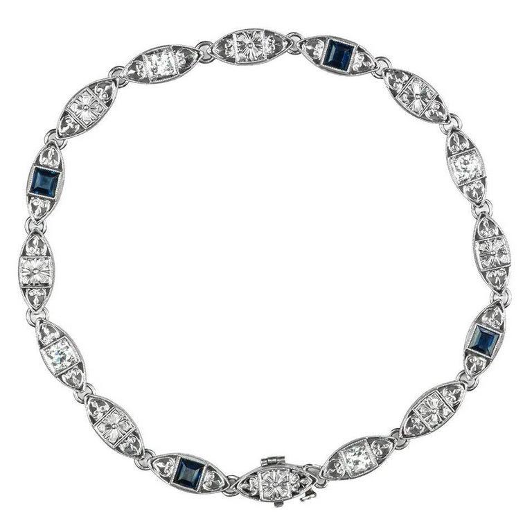 Tiffany & Co. Diamond and Sapphire Platinum Bracelet