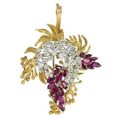 Diamond and Ruby Yellow Gold and Platinum Pendant and Brooch
