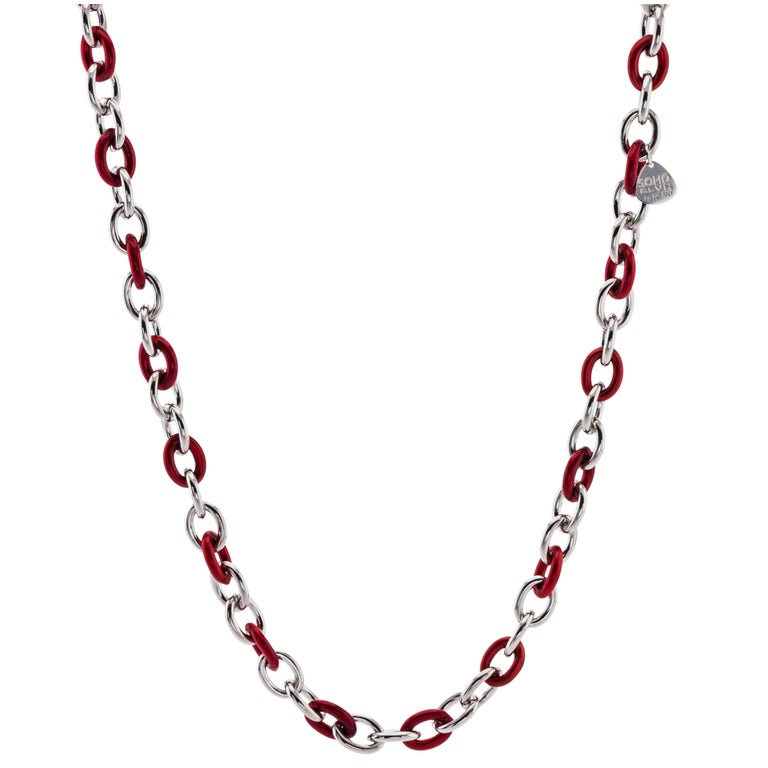 Italian Sterling Silver and Red Enamel Soho Link Necklace
