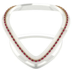 Ruby Diamond Tennis Necklace by Juliette Wooten Yellow Gold