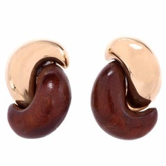 1980s Half Link Rosewood and Gold 18 Karat Earrings