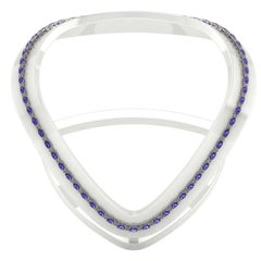 Tanzanite Diamond Tennis Necklace by Juliette Wooten White Gold