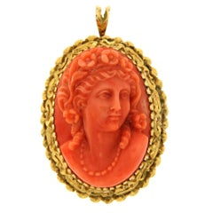 Coral Cameo Gold Pin Pendant