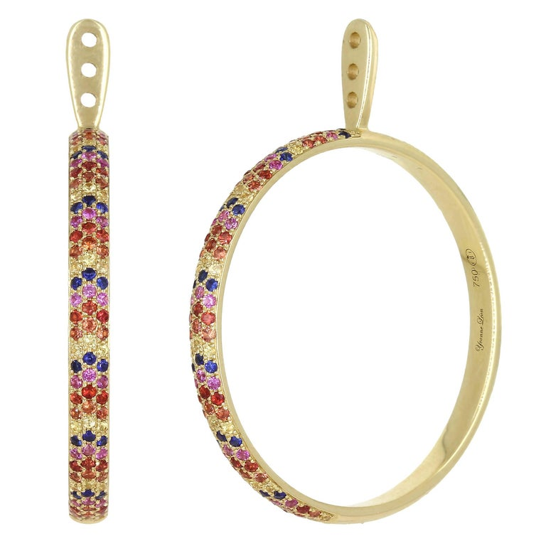 Yvonne Leon Contemporary 18 Karat Ear-Jacket with Multicolored Sapphires
