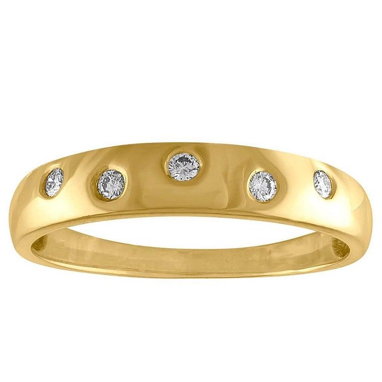 0.10 Carat Diamond Gold Band Ring