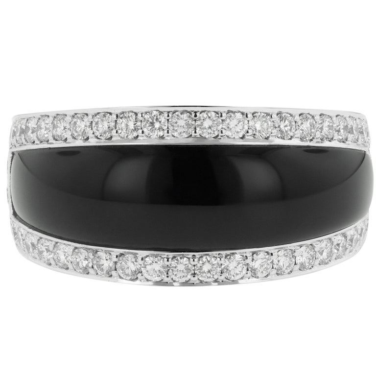 Black Onyx and 1.80 Carat Diamond Ring 14 Karat White Gold