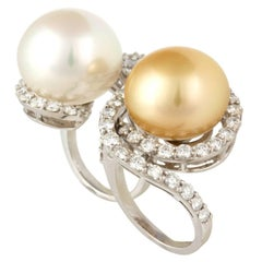 Ella Gafter White Pearl Golden Pearl Diamond White Gold Two Finger Ring