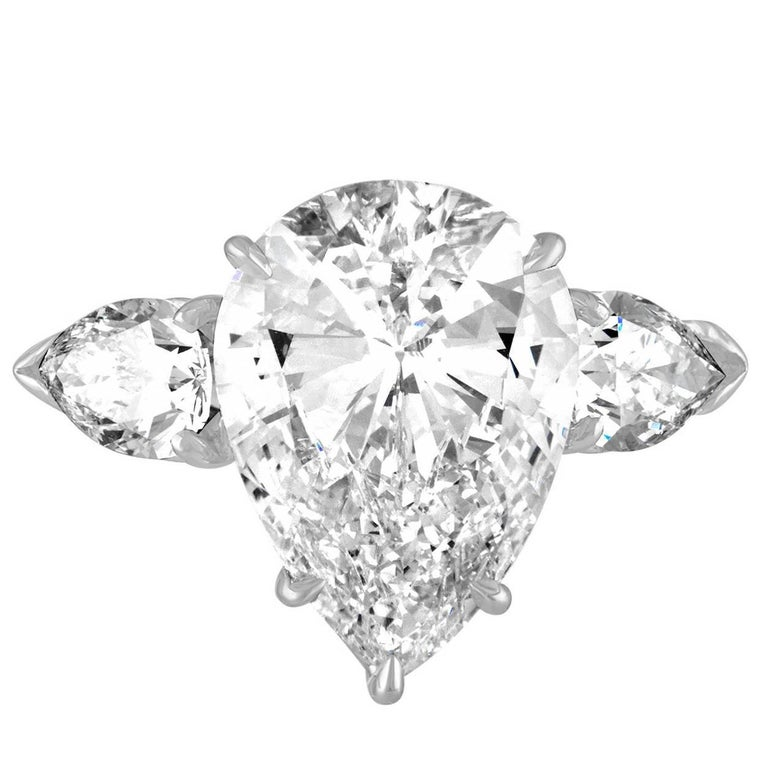 5.46 Carat Pear Shape GIA JVS1 Three-Stone Ring