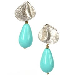 Decadent Jewels White Gold Turquoise Earrings