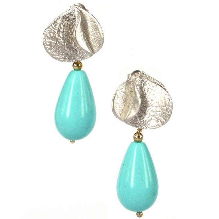 Decadent Jewels White Gold Turquoise Earrings For