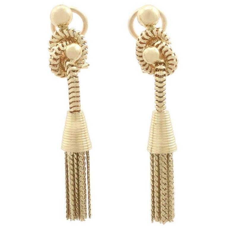 1950s 18 Karat Yellow Gold Tassel Drop Earrings